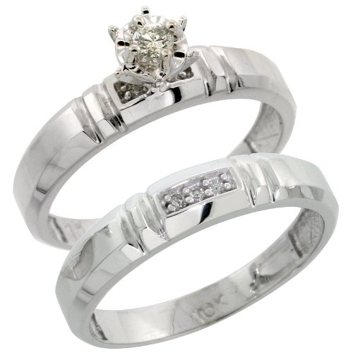 5//32 in. w// 0.07 Carat Brilliant Cut Diamonds 4mm wide Sterling Silver 2-Piece Diamond Engagement Ring Set