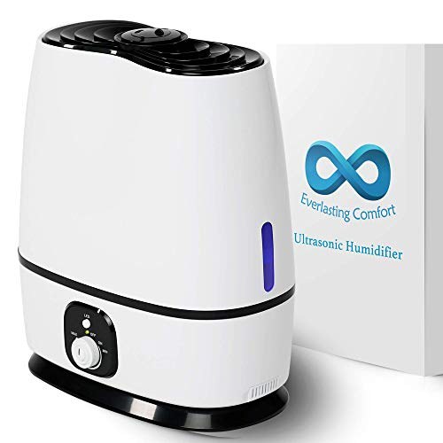 Ultrasonic Cool Mist Humidifier (6L) - Essential Oil Tray, High Output, Ultra Quiet, Auto Shut Off, Night Light, Large Capacity Vaporizer by Everlasting Comfort (White) from Everlasting Comfort