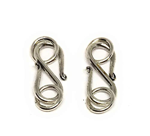 Sterling Silver Bali S Clasp 14mm Swirl Ends (2 Clasps)