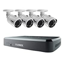 Lorex by FLIR 8-Channel Series HD Security NVR System with 2TB HDD, Includes 4x 3MP IP Bullet Camera, Mouse and Cables