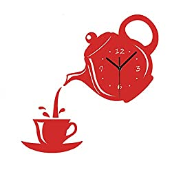 MAMaiuh 3D DIY Wall Clock Kettle Teacup Numbers Acrylic Mirror Modern Design Wall Sticker Clock Home Decor Mural Decals (RED)
