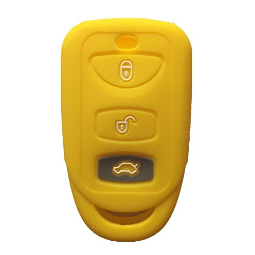 Yellow-3-Buttons-Silicone-Key-Fob-Case-Cover-Jacket-Key-Skin-fit-for-Kia-Hyundai