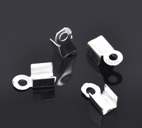 Cord End Plated (PEPPERLONELY Brand, 1000PC Silver Plated Fold Over Cord Tip Ends Crimps 9x4mm (3/8