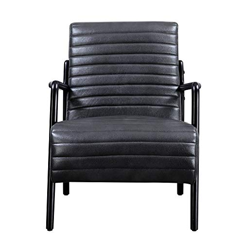 Windsor Accent Chair in Slate with Exposed, Wood Frame And Vinyl Tufted Seat And Back, by Artum Hill