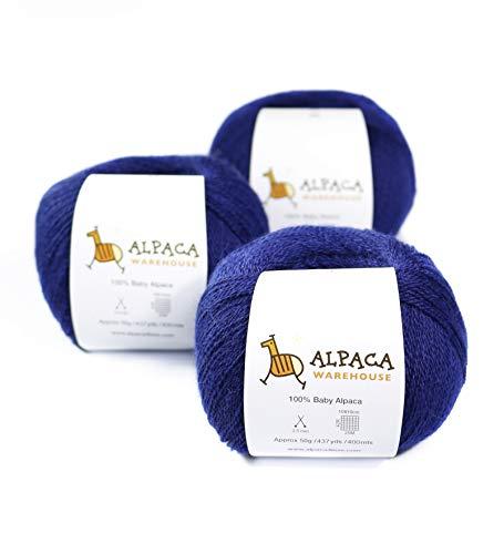 100% Baby Alpaca Yarn Wool Set of 3 Skeins Lace Weight (Blue)