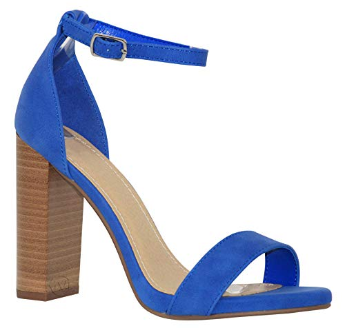 MVE Shoes Women's Open Toe Chunky Heel Strappy Heeled Sandal, Shiner BLU/Stack -