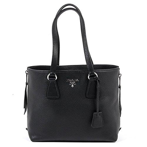 Prada Women's Vitello Diano Leather Side-Zip Tote Bag 1BG099 Black