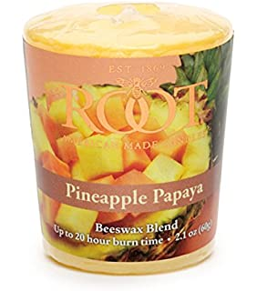 Root Candles 20-Hour Scented Beeswax Blend Votive Candles, 18-Count, Pineapple