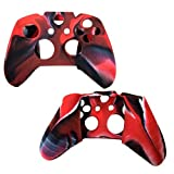Xbox-One-Controller-Case SlickBlue Camo Series - Silicone Protection Case Cover Skin for Xbox-One DualShock Controllers - Red