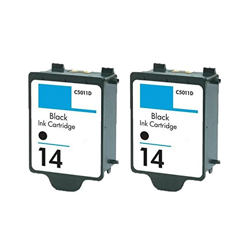 14 Black C5011an Ink - N&L Global CO. 2PK C5011AN HP 14 Black Compatible Ink Cartridge for HP CP1160 Officejet D135 (Pack of 2)