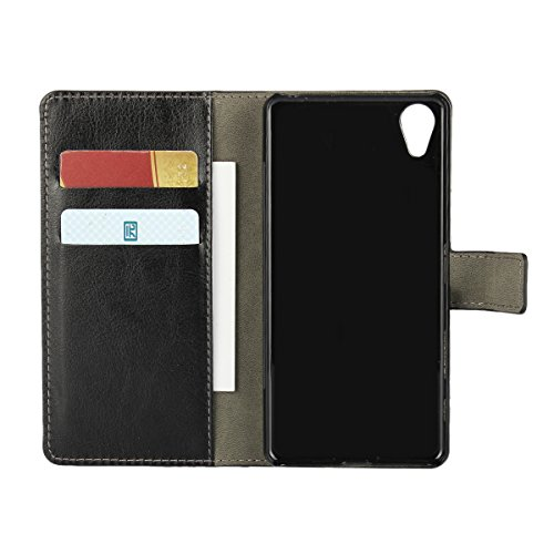Xperia X Performance Funda,COOLKE Retro PU Leather Wallet With Card Pouch Stand de protección Funda Carcasa Cuero Tapa Case Cover para Sony Xperia X Performance - Azul Negro