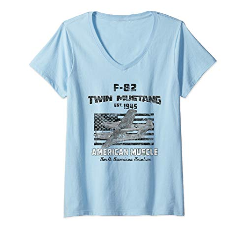 (Womens F-82 Twin Mustang Airplane American Muscle Vintage V-Neck T-Shirt)
