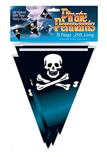 Loftus International Pirate Pennant Flag Banner, Black, 25'