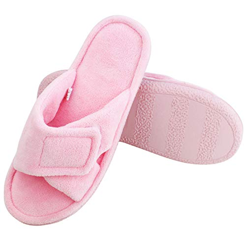 Magtoe Women Memory Foam Indoor Coral Velvet Adjustable Open-Toe House Slipper (X-Large, Pure Pink) ()