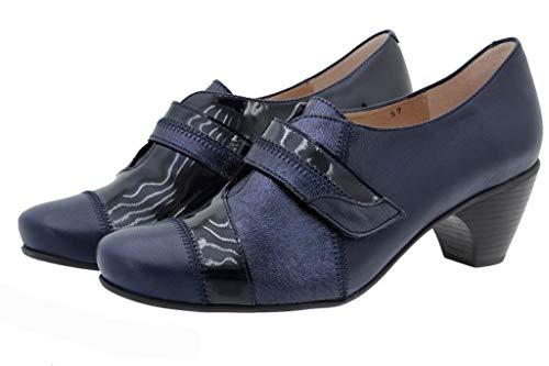Scarpe Blu Comfort Donna Velcro 175406 Piesanto Speciale Pelle Larghezza P4Fqwz