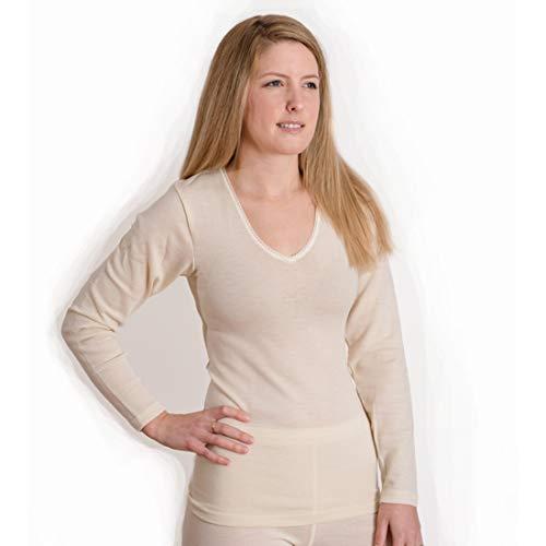 Hocosa Women's Long-Underwear Shirt, Long Sleeve, V-neck, Organic Wool-Silk,Natural White, s. 38/US 8