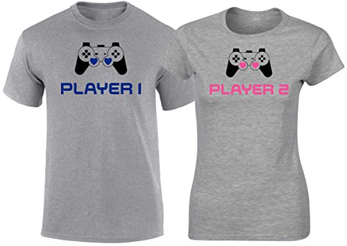 Matching Couples T Shirts Player 1 Player 2 Games His & Her Outfits by SuperPraise
