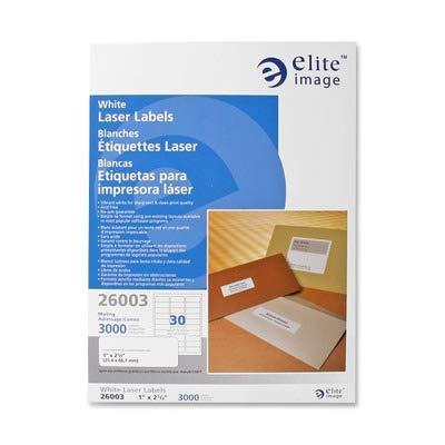 Elite Image Mailing Laser Label - 1quot; Width x 2.62quot; Length - 3000 / Pack - Laser - White ()