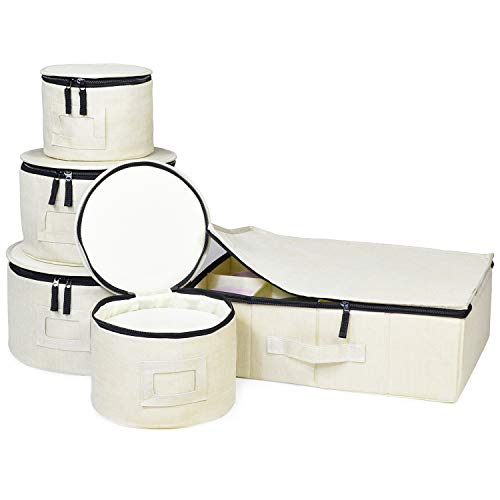 China Storage Set, Hard Shell and Stackable, for Dinnerware Storage and Transport, Protects Dishes Cups and Mugs, Felt…
