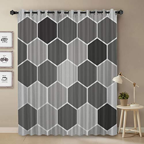 T&H Home Darkening Blackout Curtain for Bedroom - 84 inch Long Window Treatment Curtain Drapes Modern Art Design for Living Room- Honey Comb Grey Abstract Geometry Block Pattern
