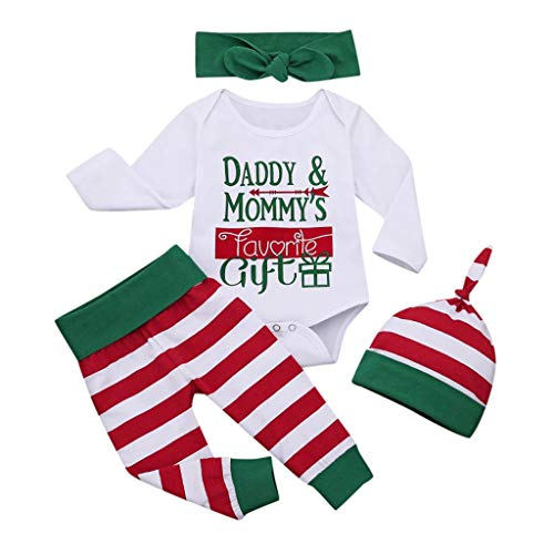 Mgk In A Suit (Mayunn 4-Pieces Newborn Baby Boys Girls Cotton Christmas Letter Bodysuit Stripe Pant Costume Outfits Clothes Set)