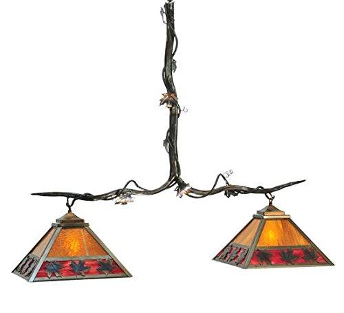 Meyda Custom Lighting 111207 Maple Leaf 2-Light Island Pendant, Burnished Copper with Honey and Burgundy Art Glass Shades