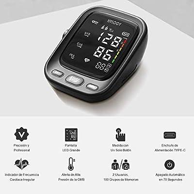 HYLOGY Tensiómetro de Brazo, Monitor de Presión Arterial Digital Automatico con Gran Pantalla LED, Deteccion de Irregular Arritmia, Brazalete 22-42cm, ...