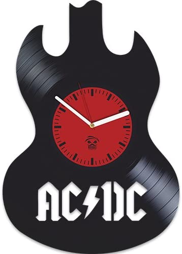 Kovides AC DC, ACDC Guitar, Shoot to Thrill Rock Band Music, TNT, Vinyl Record Best Gift for Boss Dad Mom Boy Girl Vinyl Wall Clock Home Decoration Room Inspirational, Vinyl Wall Clock Silent