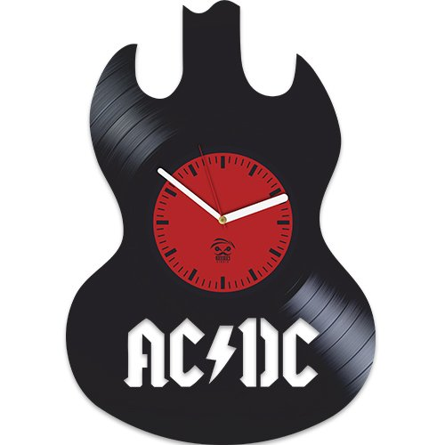 AC DC, ACDC Guitar, Shoot to Thrill Rock Band Music, Tnt, Vinyl Record Best Gift For Boss Dad Mom Boy Girl Kovides Vinyl Wall Clock Home Decoration Room Inspirational, Vinyl Wall Clock (Band Records)