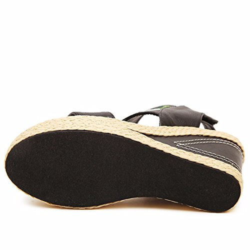 Qiyun.Z Fashion Boho Sexy Women Open Toe Summer Ankle Strap Sandals Wedge Heel Shoes Black UWpObtH