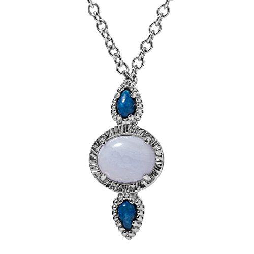 - Carolyn Pollack Sterling Silver Blue Laips and Blue Lace Agate 3-Stone Pendant Necklace 16 to 18 Inch