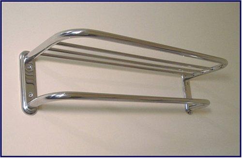 Com Polished Chrome Train Rack Or Hotel Style 18 Towel Shelf With Drying Bar Home Kitchen