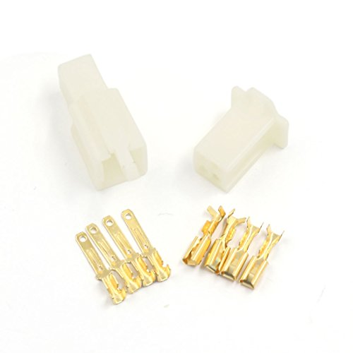 uxcell 5 Sets 4-pin 2.8mm Connector Terminals Electric Male to Female Plugs