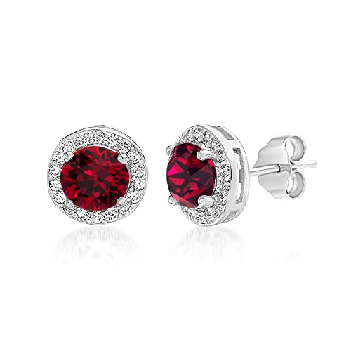 Devin Rose Round Halo Stud Earrings for Women Made With Swarovski Crystal in Sterling Silver (Light Siam Crystal Imitation July Birthstone) - July Birthstone Light