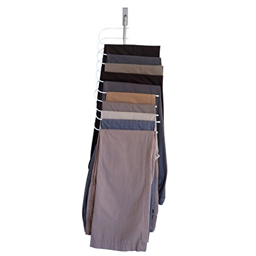 Evelots Over The Door Cascading Pants Hanger Space Saver & Organizer All In One