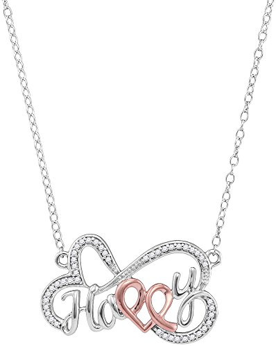 Jewels By Lux 10kt White Gold Womens Round Diamond Heart Happy Pendant Necklace 1/8 Cttw (I2-I3 clarity; J-K color) (Heart Happy Gold Diamond)