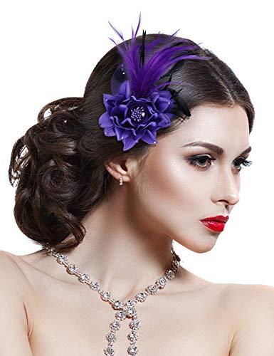 Hotvivid Fascinators for Women Tea Party Wedding Headband Feather Brooch Flower Mesh Hair Clip (Purple)