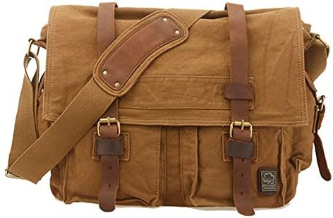 ファッションヴィンテージキャンバスメンズレディースリュックサックトラベルサッチェルメッセンジャーラップトップショルダーバッグ (Color : Brown, Size : X Large(40cm))