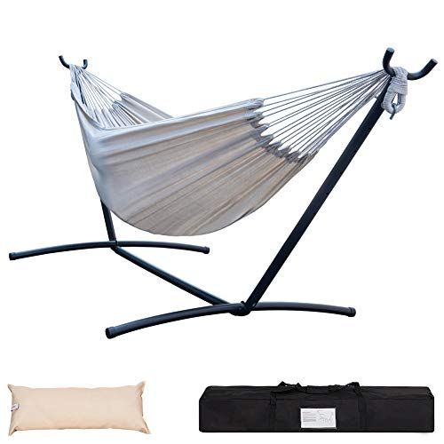 Lazy Daze Hammocks Double Hammock with Built-in Pocket and 9FT Space Saving Steel Stand Includes Portable Carrying Case and Head Pillow, 450 Pounds Capacity, Natural