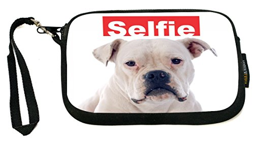 (Rikki Knight Selfie American Bull Dog - Neoprene Clutch Wristlet Coin Purse with Safety Closure - Ideal case for Cosmetics Case, Camera Case, Cell Phones, Passport, etc..)