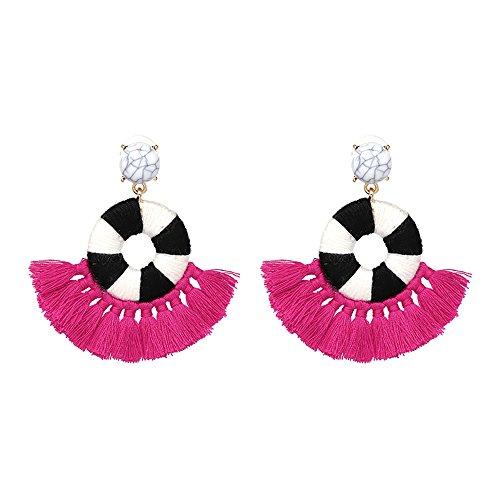 Bohemian Raspberry (Bohemian Tassel Earrings,Fan Shape Tassels Hoop Gold Earrings,Long Fringe Dangle Ear Drop Statement jewelry for Women (Raspberry,Medium))