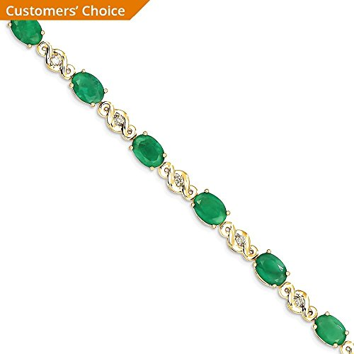 ICE CARATS 14k Yellow Gold Diamond Green Emerald Bracelet 7 Inch Gemstone Fine Jewelry Gift Set For Women Heart by ICE CARATS (Image #3)