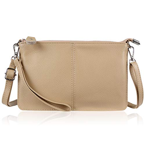 Befen Women's Leather Wristlet Clutch Phone Wallet Small Crossbody Purses and Hangbag with Card Slots (Tan)