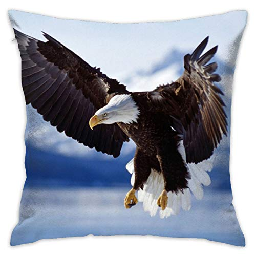 ANGEL P Bald Eagle Throw Pillow Cover, Daily Decorative Throw Pillow Case Cushion Cover Sofa Bed Car Indoor Outdoor Home Decor 18x18 Inch 45x45 cm