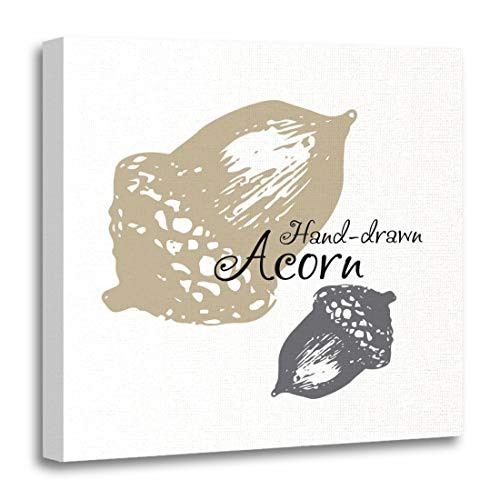 Semtomn Canvas Wall Art Print Autumn Sketch Acorn for Botany Doodle Draw Drawing Forest Artwork for Home Decor 12 x 12 Inches from Semtomn