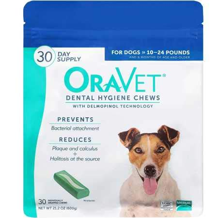 - OraVet Dental Hygiene Chews for Small Dogs 10-24lbs 30 count