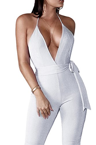 YAMIC One Piece Halter Sparkly Romers Jumpsuits For Women Party Club Night Saphetti Strap Backless Playsuit L