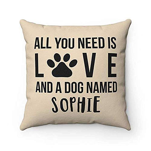 Name Valentine Sweatshirt (High quality Personalized All you need is love and a dog named Dog Throw Pillow Covers, Cases Custom name Dog Lover Cushion Cover Case, Housewarming gift)