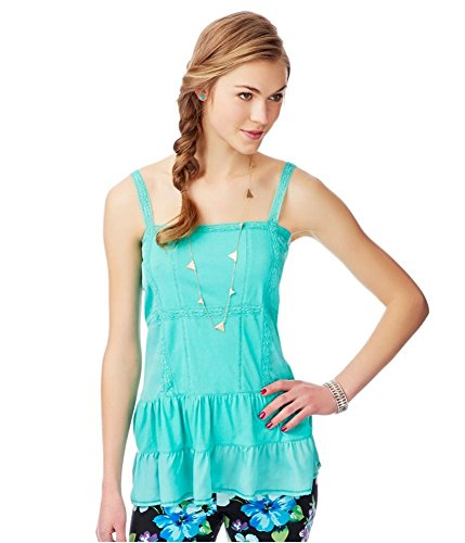 Aeropostale Womens Lace Trim Baby Doll Dress, Green, ()