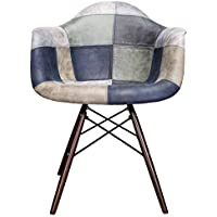 Mooku Blue & Gray Patchwork Leatherette Fabric Upholstered DAW Dining Accent Arm Chair with Dark Walnut Leg